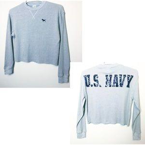 Victorias Secret Shirt Navy Crop Thermal Tee NWT